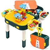Kids Multi Activity Table for Toddlers,Marble Run Building Blocks Learning Toys Compatible with Duplo, with Storage Box