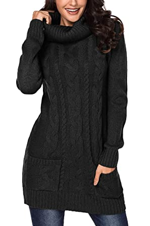 bd4d481a48 Cutiefox Womens Winter Pullover Sweaters Cowl Neck Ribbed Cable Knit Long  Sweaters Dresses Jumper S Black