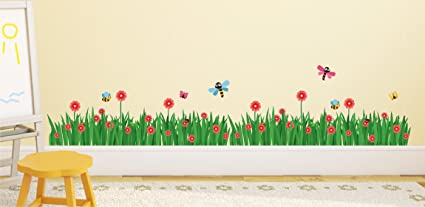 Luke and Lilly Grass and Butterfly Design Vinyl Wall Sticker (265 * 60cm)