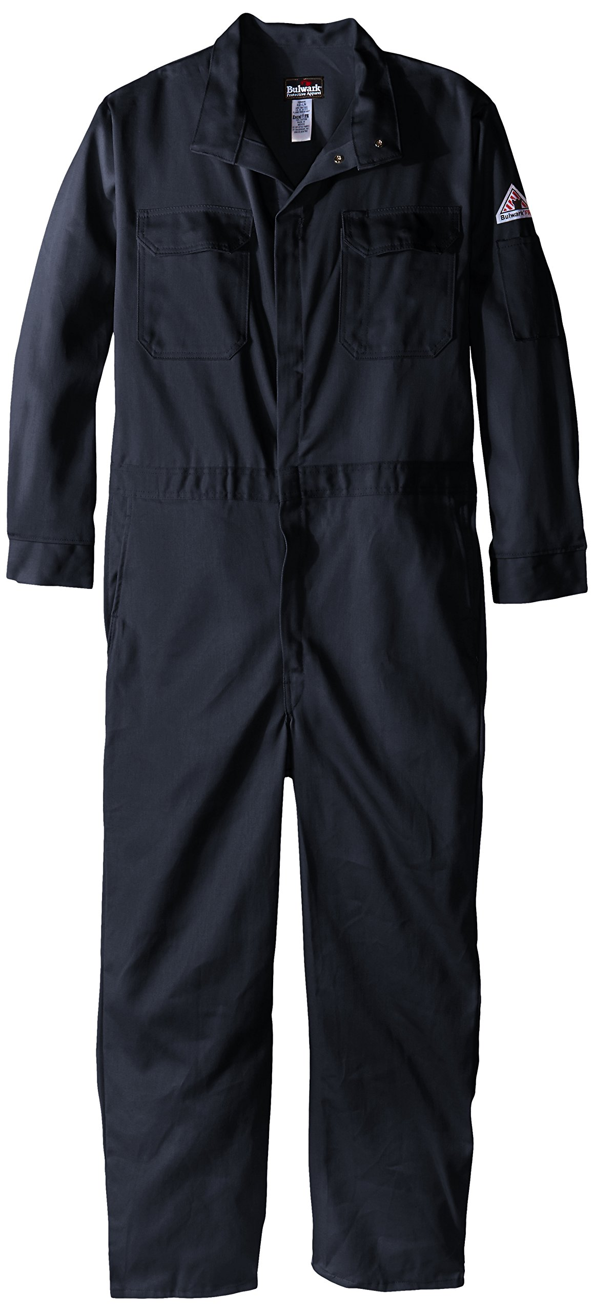 Bulwark Flame Resistant 9 oz Twill Cotton Premium Concealed Snap Coverall, Navy, 40
