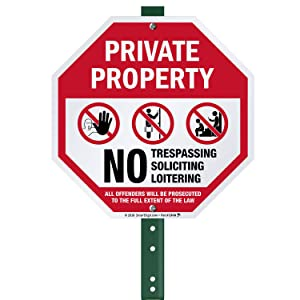 SmartSign No Trespassing Signs for Private Property, No Soliciting Loitering Signs for Lawn, 10 Inch Octagon Aluminum Sign with 3 Foot Stake