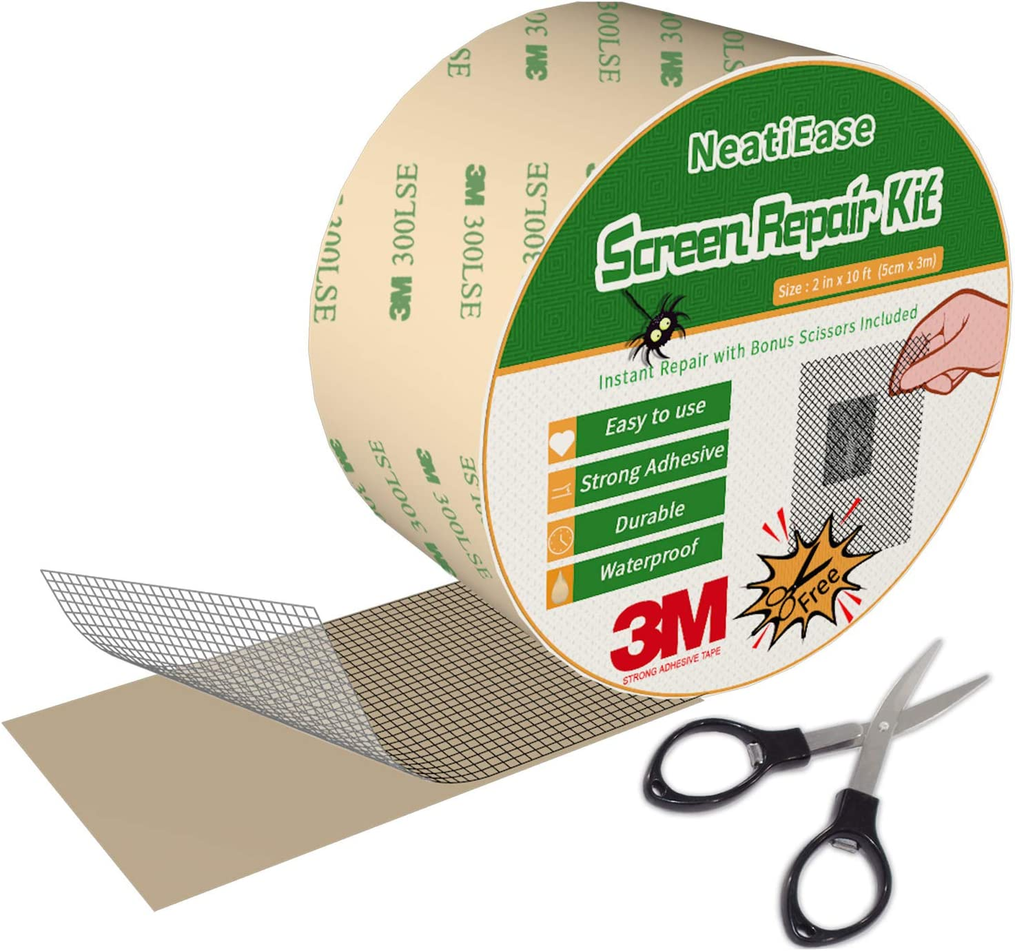 Screen Repair Kit, 2 Inch x 10 Feet Window and Door Screen Repair Patch Tape Strong with 3M Adhesive (Black)