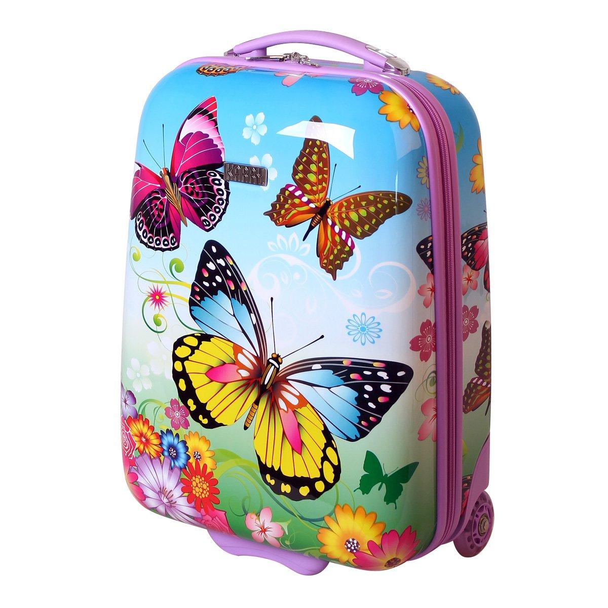 Karry Kinder Koffer Reisekoffer Trolley Hartschalen Handgepäck Mädchen LED Skater Rollen Schmetterling Butterfly 819