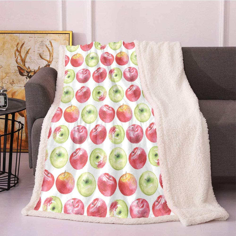 SeptSonne Apple Fleece Throw Blanket,Watercolor Macoun Cameo and Granny Smith Drawing in Agricultural Yield Pattern Blanket Small Quilt,for Bed/Couch/Chair Throw Blankets(60x80,Apple Green Red)