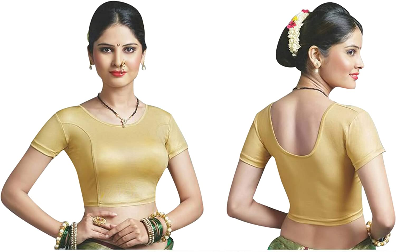 Pinkkart Golden Ready to wear Blouse Blouses Designer Indian Best Match Saree Choli Matching Cotton Lycra Net Stretchable Short Sleeve D.no 19 Stock Silver