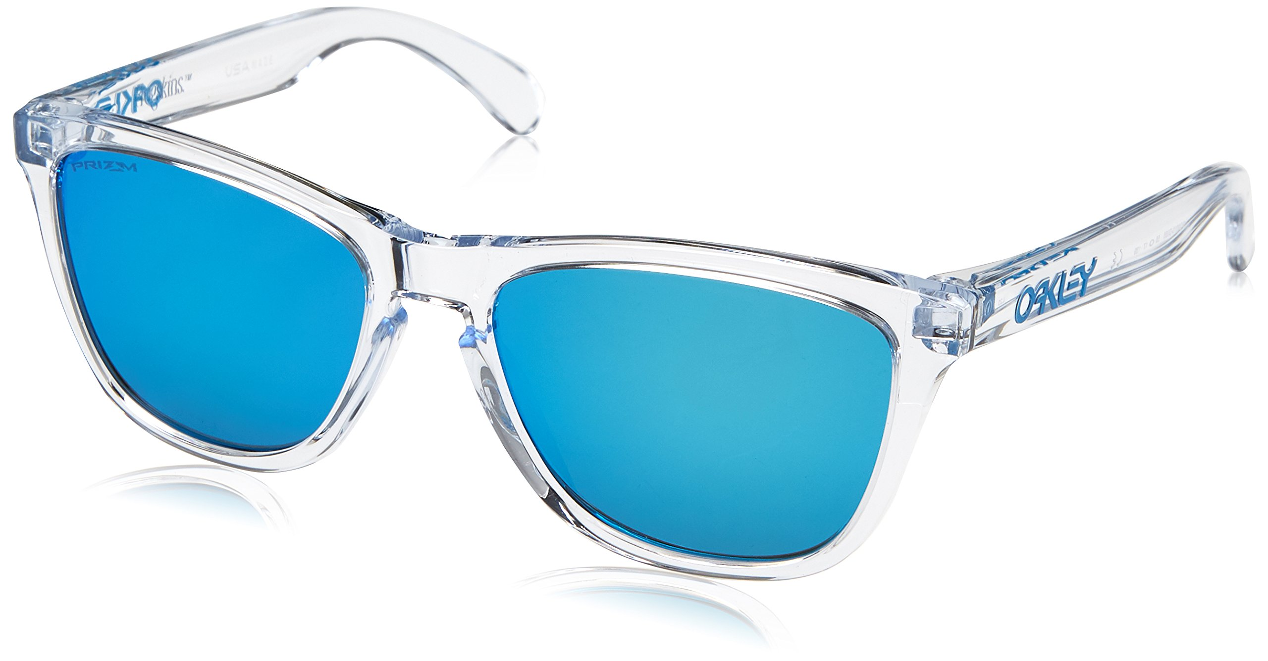Oakley Men's Frogskins Non-Polarized Iridium Square Sunglasses, Crystal Clear, 54.7 mm