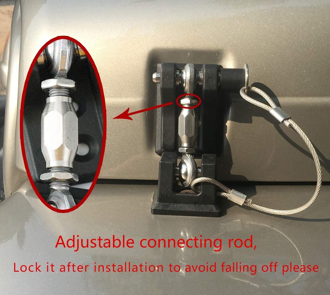 1 Pair BESTAOO Hood Latches Pins with Lock Anti-Theft Hood Catch Lock Kit for Jeep Wrangler TJ 1997-2007