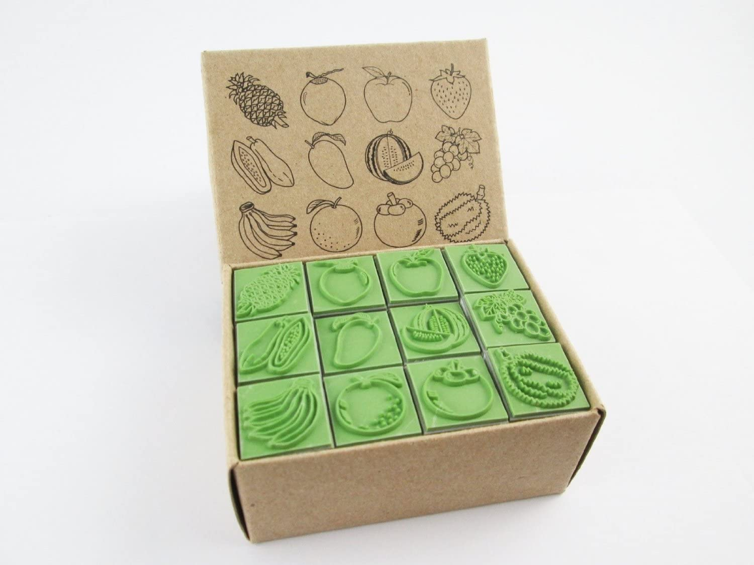 Np Crafts 12 Kids Apple Strawberry and Fruits Rubber Stamps Set (CR017)