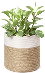 """Dahey Small Cotton Rope Plant Basket Woven Storage Basket for Up to 7"""" Planter, 7.5"""" x 8"""" Decorative Flower Pot Cover Closet Storage Bin Table Desk Organizer Modern Home Decor, White and Beige"""
