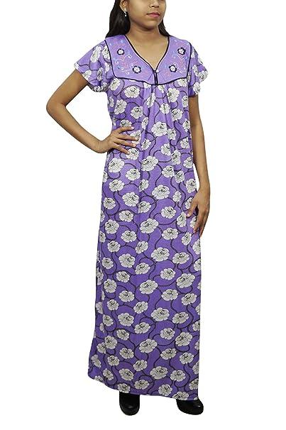 Indiatrendzs Women Long Maxi Nightgown Floral Printed Eveningwear Half  Sleeves Nighty (Purple White) 394a5ec78