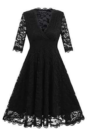 Avril Dress Womens 1950s Retro Style Full Lace Bridesmaid Dress Cocktail Party Swing A-Line