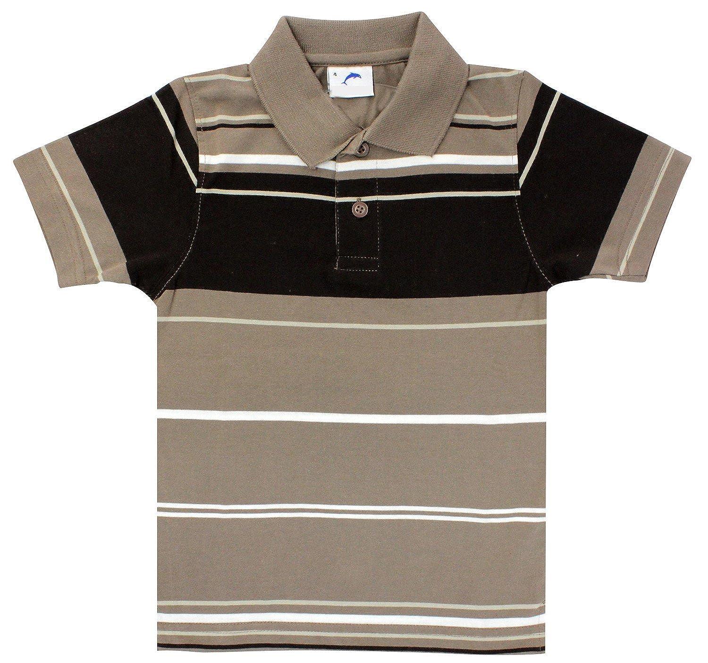Enimay Boys Polo Shirt Casual Button Down School Striped Collar Uniform T-Shirt