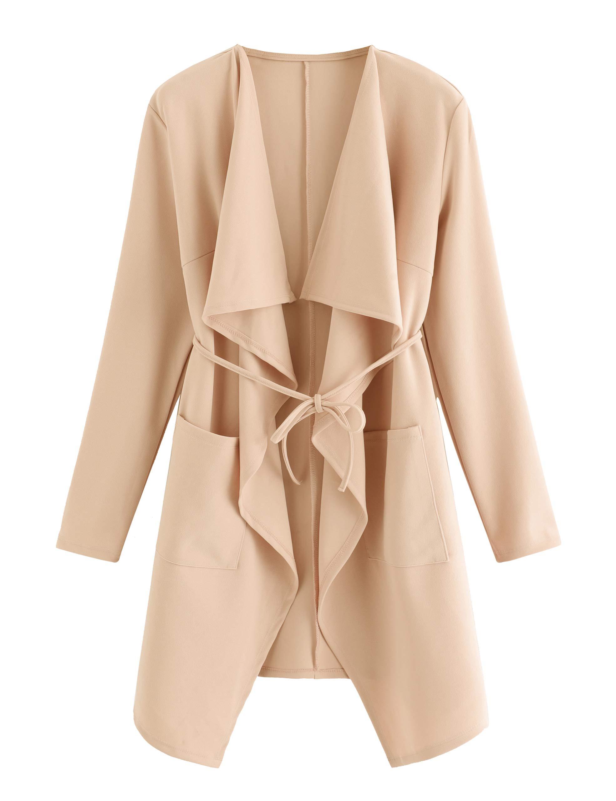 ROMWE Women's Waterfall Collar Long Sleeve Wrap Trench Coat Duster Cardigan Jacket Peach M by ROMWE