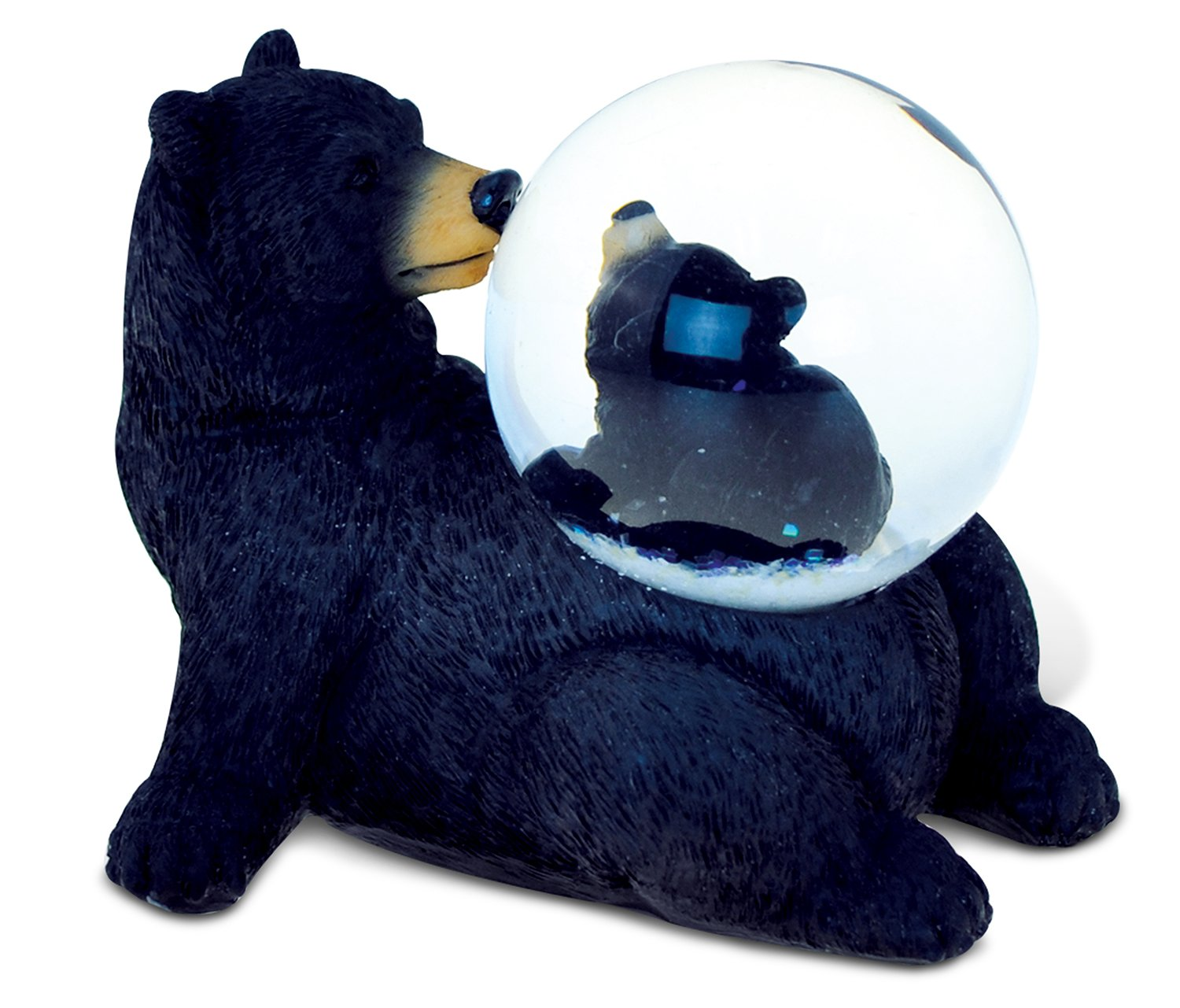 Puzzled Black Bear (45MM) Resin Stone Finish Snow Globe - Animal Theme - Unique Elegant Gift and Souvenir - Item #9481