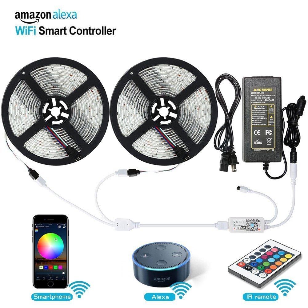 LEDストリップライト、lunsy WiFiワイヤレススマートフォンAndroid / iOS ) Controlledライトストリップキット5050 32.8 Ft / 10 m 300 LED、ロープライト、リボンライトによって制御Alexa、ip65防水( 2パック) B079M495CP 22380