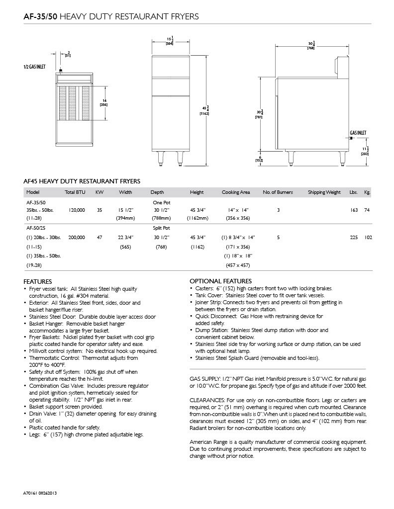 American Range Af35 50 Lp Heavy Duty Restaurant Fryer Free Download Af75 Wiring Diagram Liquid Propane Industrial Scientific