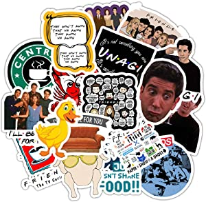 AGOUNOD Friends TV Stickers Funny Stickers for Laptops, Computers, Hydro Flasks, Water Bottles Waterproof Vinyl Scrapbook Stickers(50pcs Friend Themed)