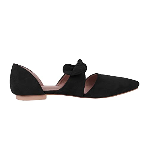 7f4cc6e9421d0 Huiyuzhi Womens Pointed Toe Ballet Flat Comfort Slip On Bow Tie Cute  Leather Mule Shoes