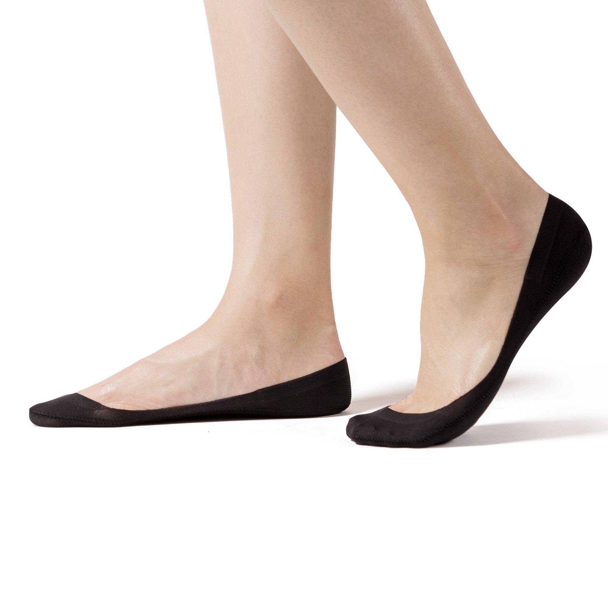 SHEEC SoleHugger Secret 2.0 - No Show Non Slip Women's Sock - Black Small 4 Pairs