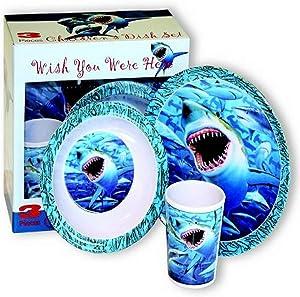 Motorhead Products Wish You Were Here' Sharks 3-Piece Children's Dish Set