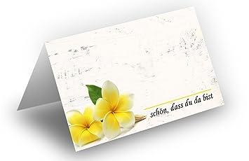 50 Tischkarten Frangipani Gelb Holz Hintergrund Uv Lack Glanzend