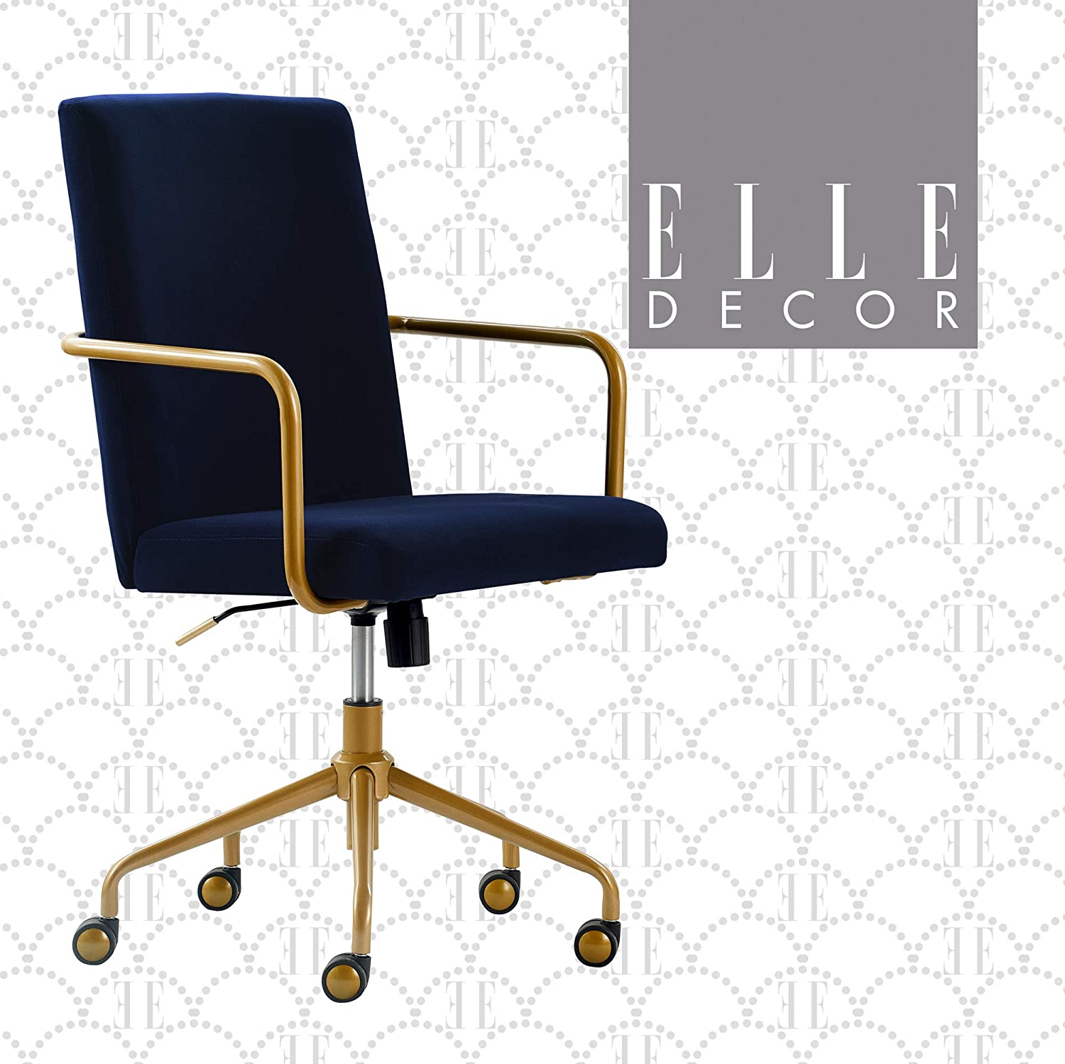 Amazon Com Elle Decor Giselle Modern Home Office Desk Chair High Back Adjustable Computer Chair With Gold Arms Base And Wheels Velvet Fabric Navy Blue Furniture Decor