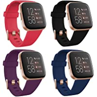 TECKMICO Fitbit Versa 2 Wristband,4-Pack Soft Sport Bands for Fitbit Versa/Versa 2/Fitbit Versa Lite with Rose Gold…