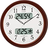 CITIZEN ( シチズン ) 電波 掛け時計 ネムリーナ カレンダー M01 ブラウン 茶 メタリック色 4FYA01-006