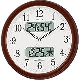 CITIZEN (シチズン) 電波 掛け時計 ネムリーナカレンダー M01 ブラウンメタリック色 4FYA01-006