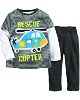 Captain Meow Baby boys Long Sleeve Infant Clothing Set T-shirt And Pants Helicopter