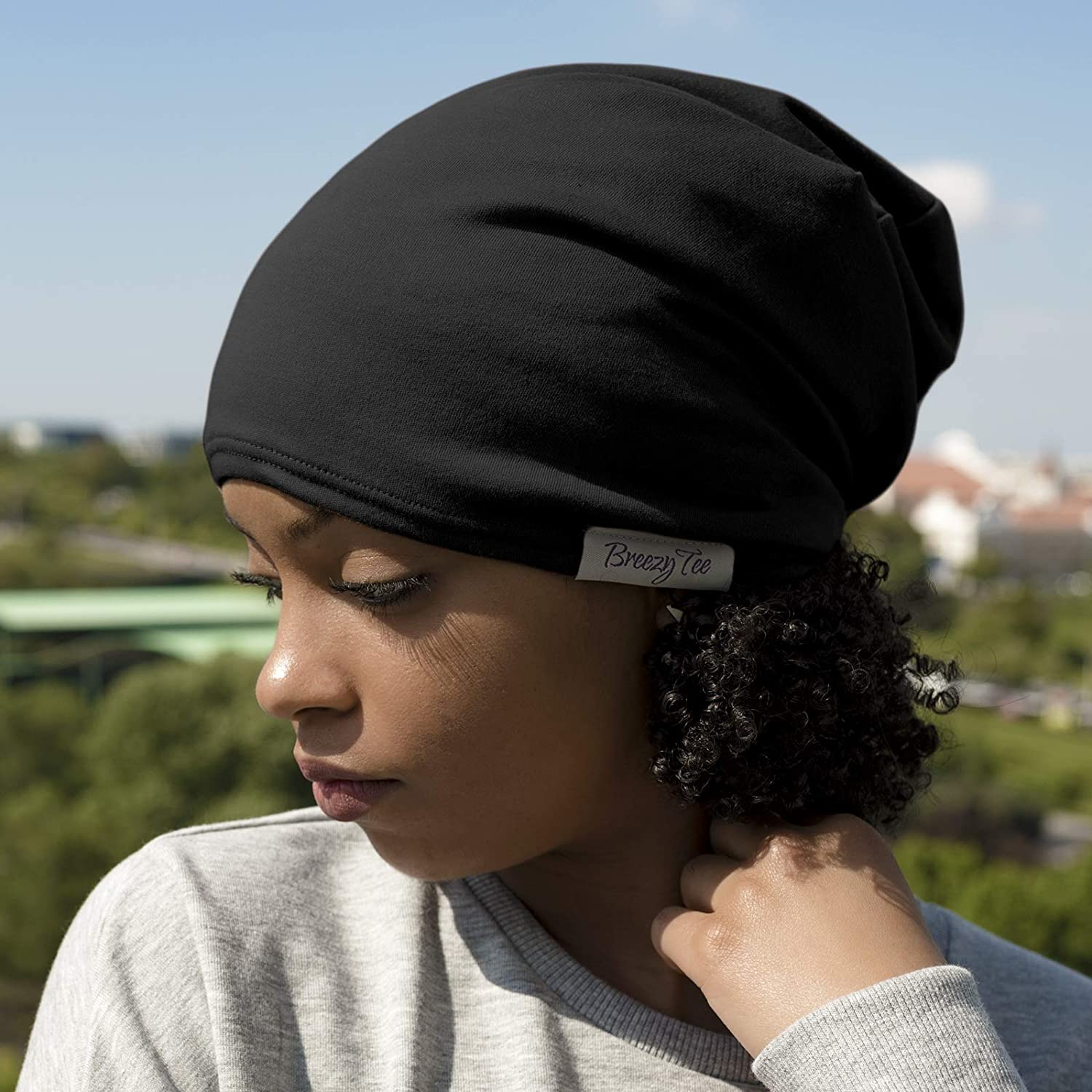 Satin Lined Beanie Black Jersey Cap, 20-22inches 51-56cm around the head