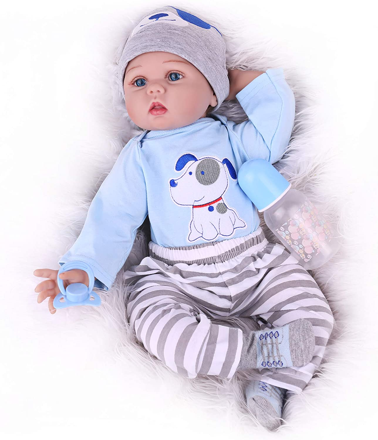 CHAREX Reborn Baby Doll, 22 Inch Baby Doll Boy, Lifelike Realistic Reborn Doll with Baby Doll Accessories for Children Age 3+