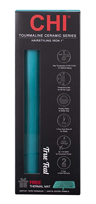 CHI Expert Classic Tourmaline Ceramic Hair Straightener Iron in True Teal