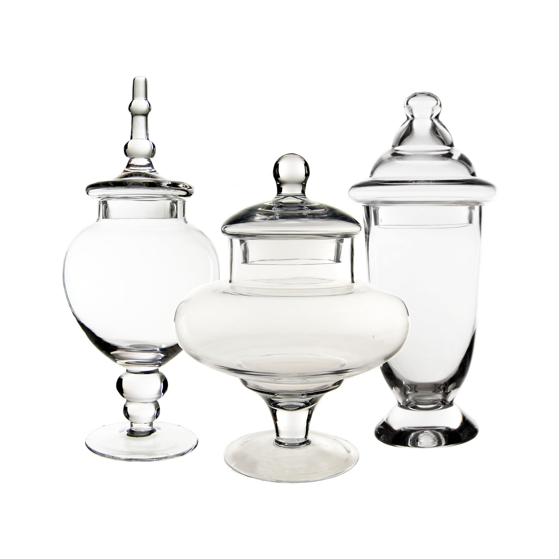 CYS EXCEL Apothecary Jars, Candy Buffet Display, Elegant Storage Jars, 3 Different Styles & Sizes, Pack of 1 Set of 3, Baby Shower Decorations, Height are 10'' 13'' and 14.5'' by CYS EXCEL