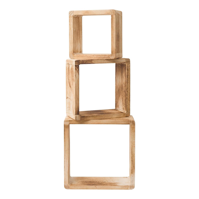 RE4511 Legno Naturale chiato Design Vintage Retro Rebecca Mobili Set 3 mensole cubo Misure: 26 x 26 x 9 cm scaffali da Appendere per Camera Soggiorno - Art HxLxP