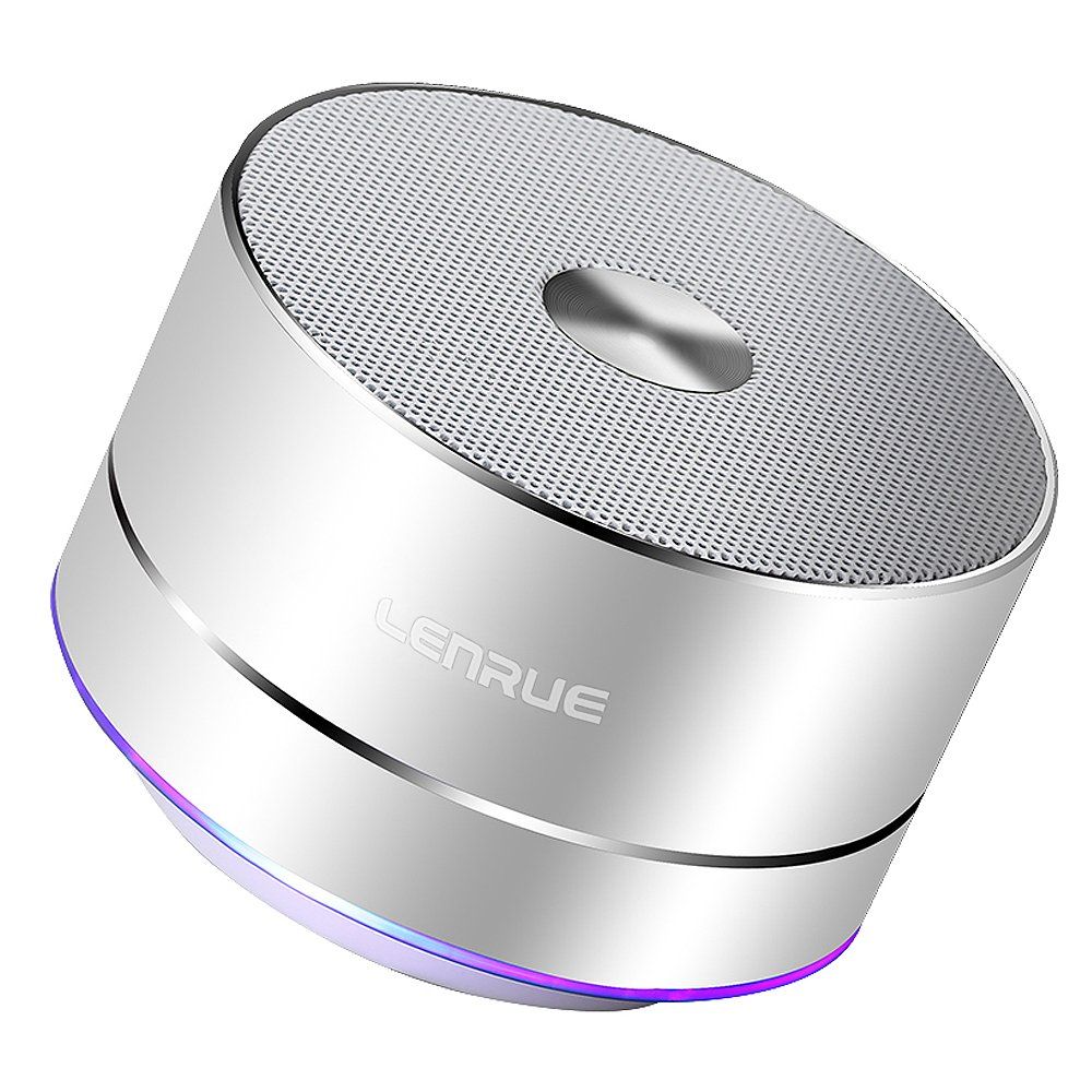 Lenrue Portable Bluetooth Speaker A2 Wireless Mini Outdoor Rechargeable Speakers with LED, Stereo Sound, Enhanced Bass,Built-in Mic for iPhone/IPad/Andriod/Sansung/Tablet Silver