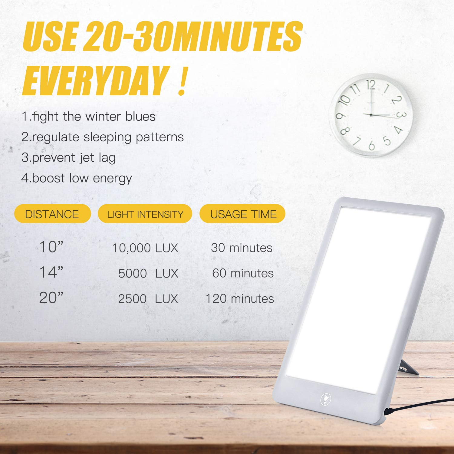 Light Therapy Lamp, 3 Brightness Levels Light Therapy Energy Box, Full Spectrum UV Free & Touch Control, Portable Sun Lamps for Happy Life, Max 32,000 LUX, White by sakobs (Image #3)