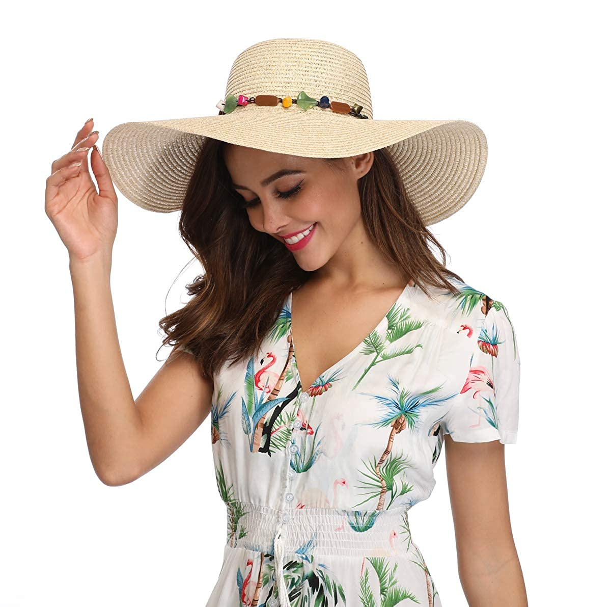 d624093fc68e2 Lanzom Womens Wide Brim Straw Hat Floppy Foldable Roll up Cap Beach Sun Hat  UPF 50+ (Style A-Khaki) at Amazon Women s Clothing store