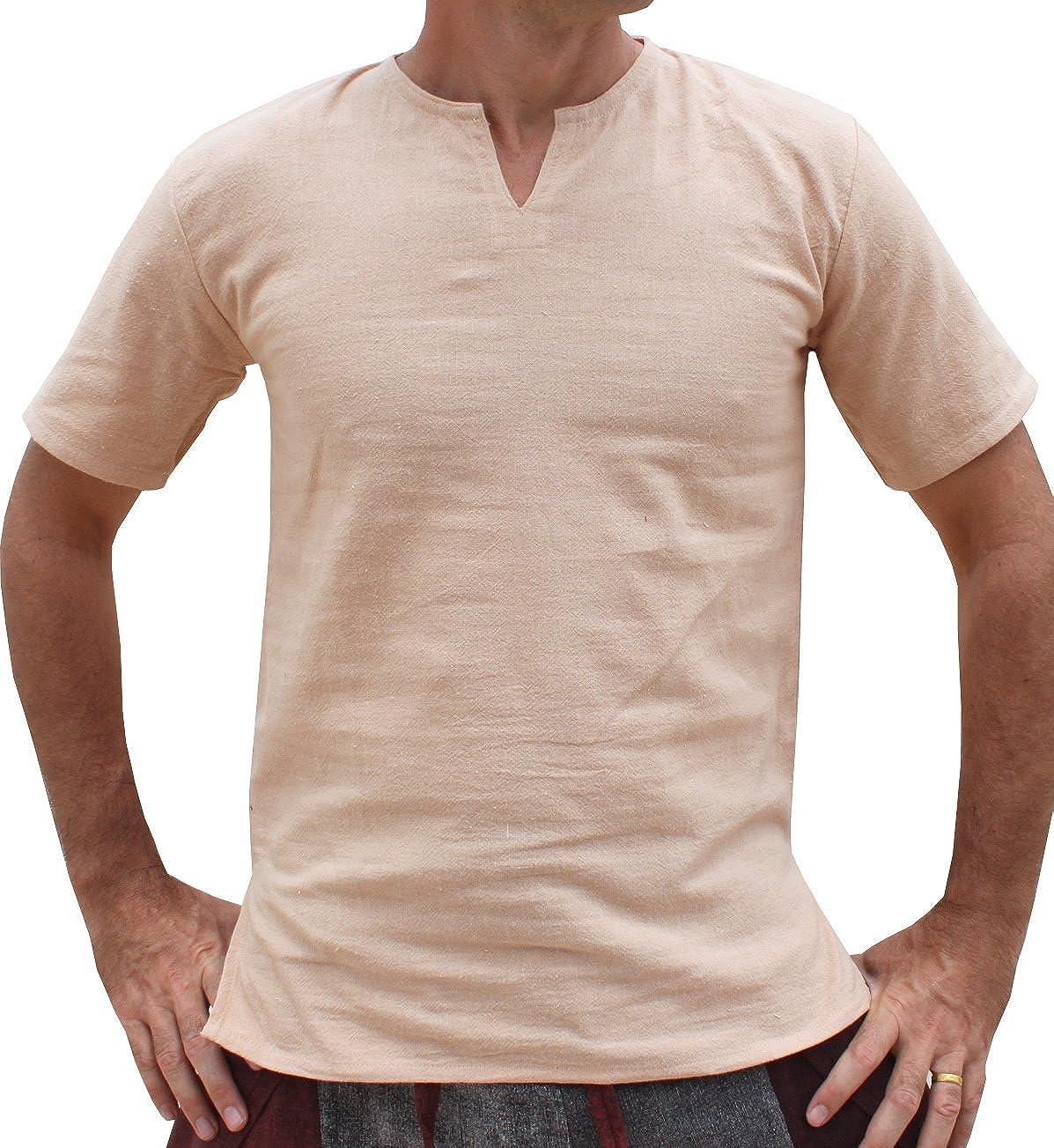 Raan Pah Muang Brand Soft Summer Cotton Open Slit Collar Short Sleeve Shirt variant24300AMZ