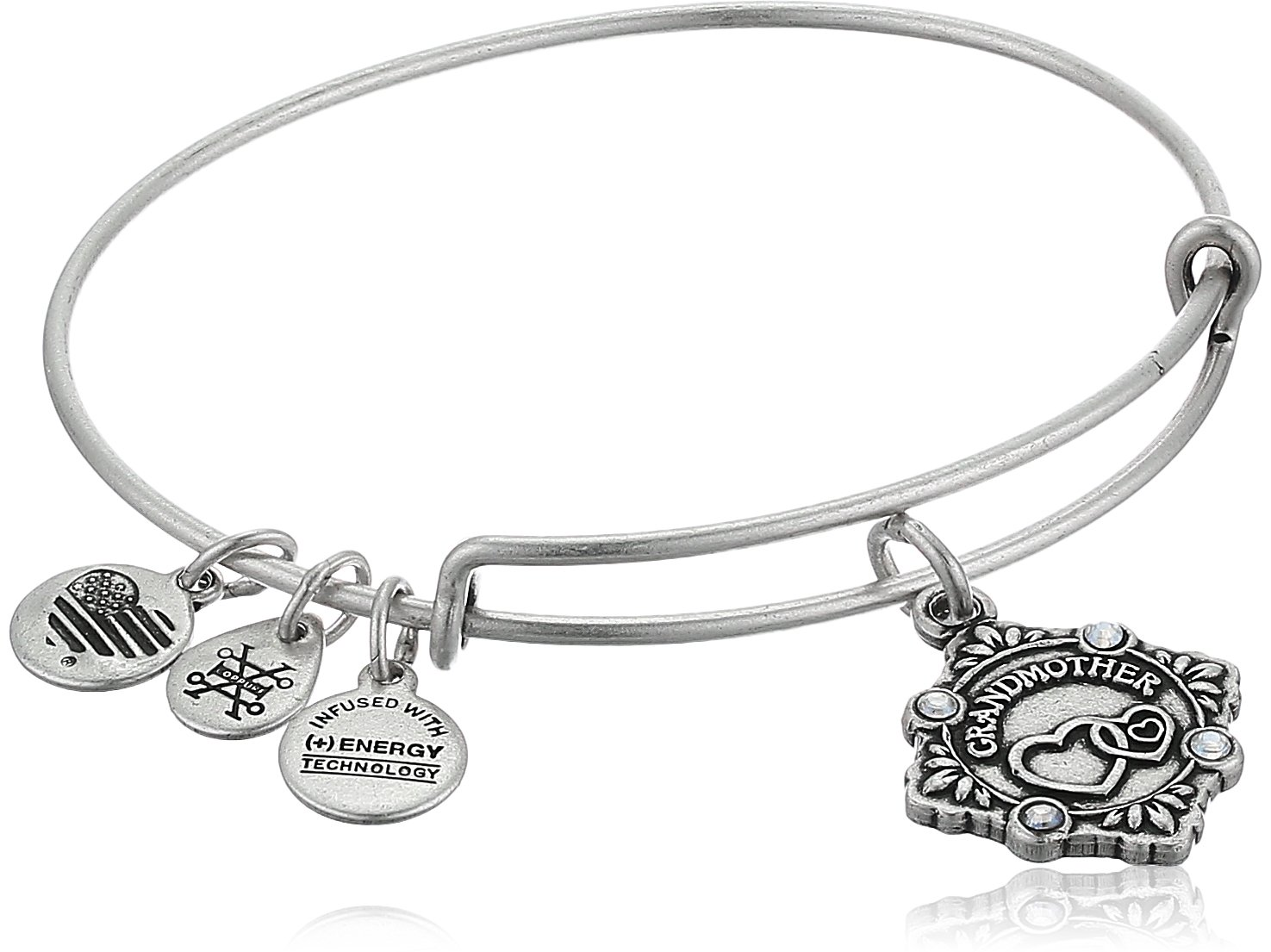 Alex and Ani Womens Because I Love You, Grandmother Charm Bangle Bracelet, Rafaelian Silver, Expandable by Alex and Ani