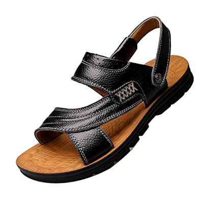 e7fc69ff9ace2 Gaorui Men s Leather Sandals Summer Outdoor Fisherman Breathable Sport  Beach Sandals Black