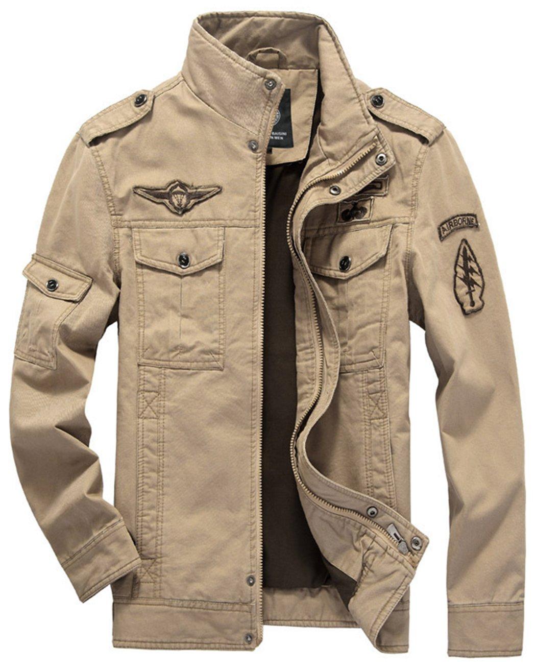 Sawadikaa Men's Cotton Lightweight Military Casual Jacket Windbreaker Wind Trench Coat Bomber Jacket Khaki Large