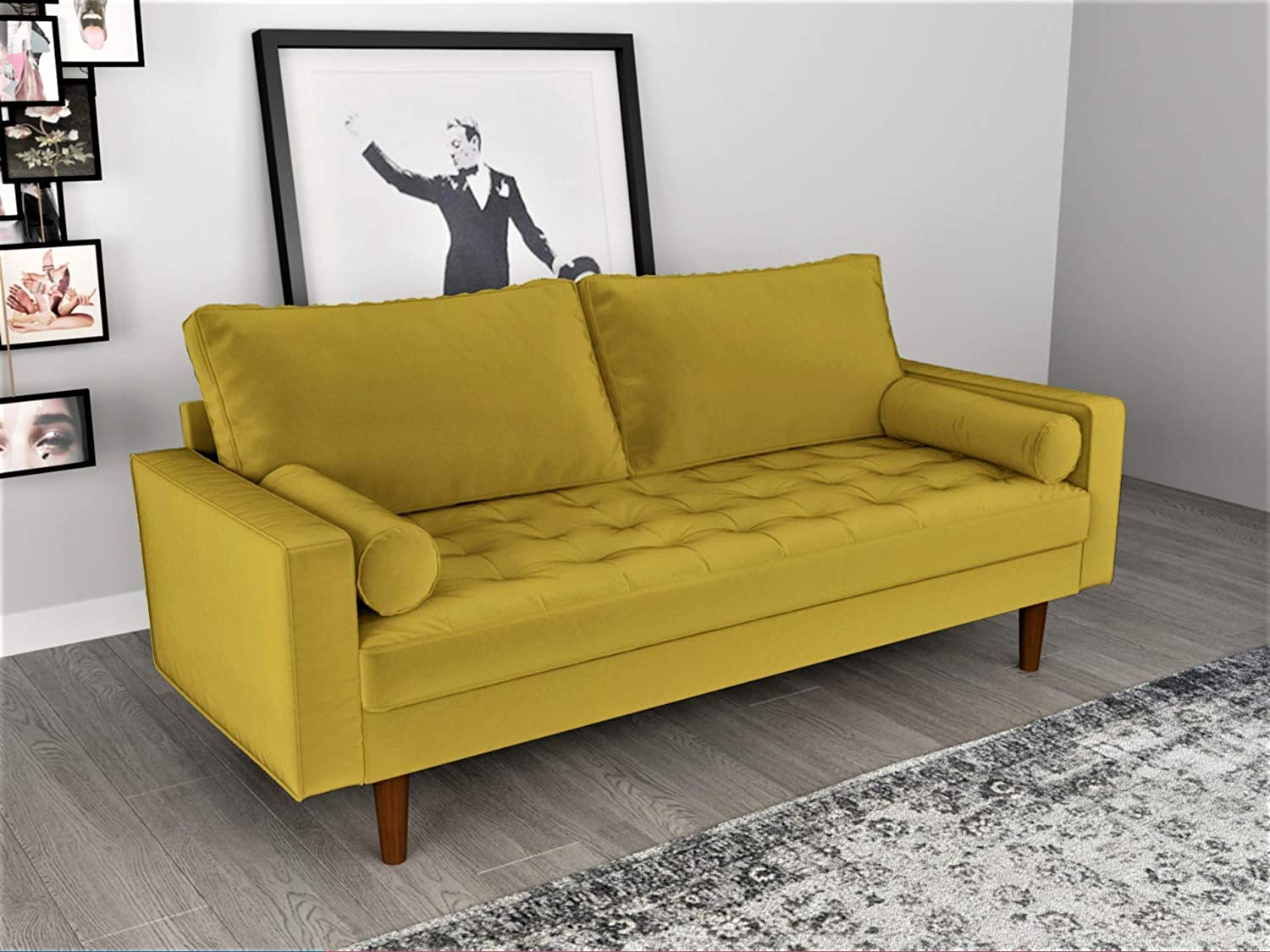 Astounding Container Furniture Direct S5459 Mid Century Modern Velvet Upholstered Tufted Living Room Sofa 69 68 Goldenrod Machost Co Dining Chair Design Ideas Machostcouk