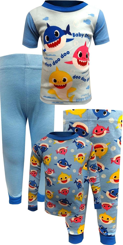 AME Sleepwear Boys Baby Shark 4 Piece Blue Cotton Toddler Pajamas