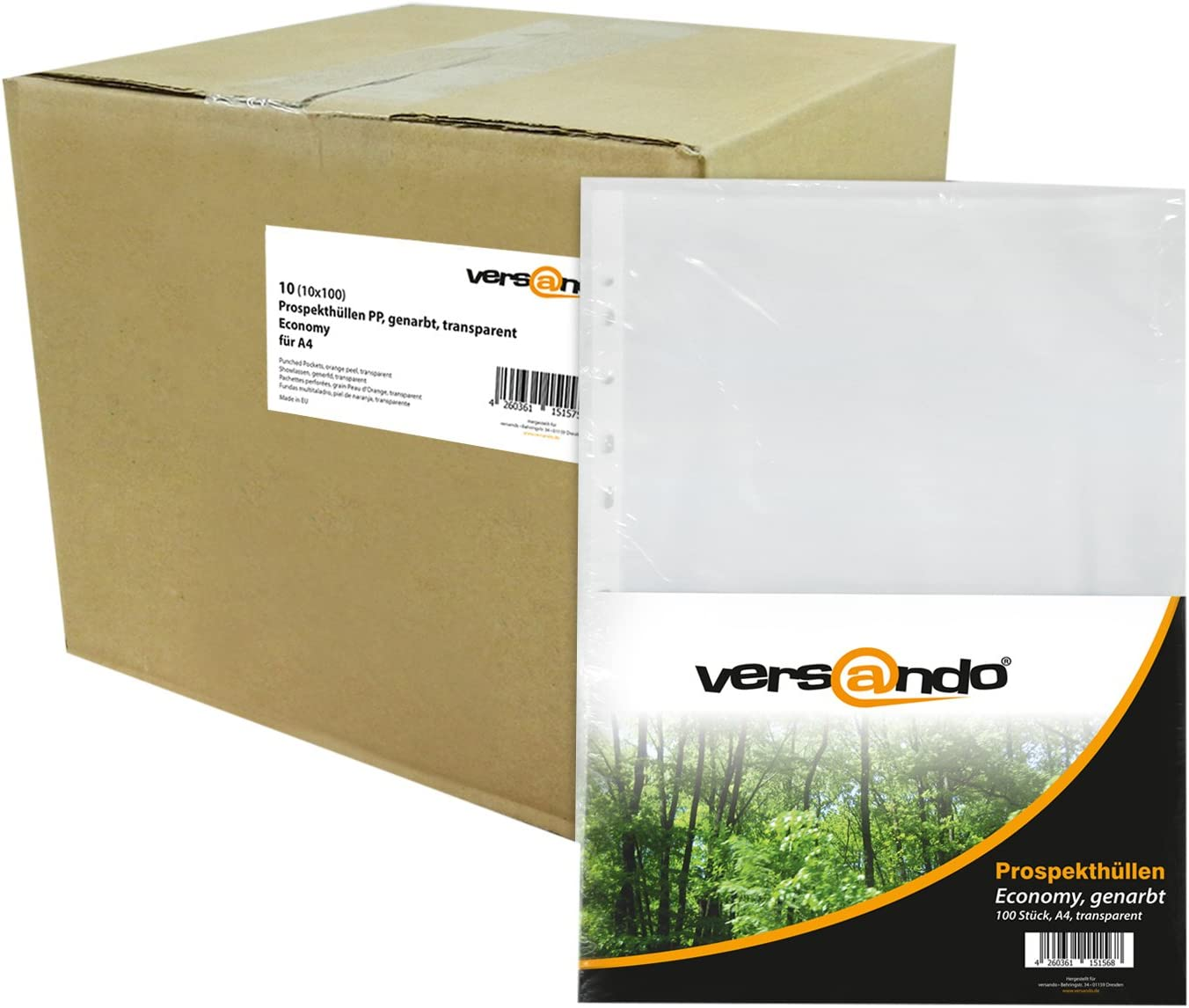 Versando - 1000 (10x100) Fundas de plástico para DIN A4 Fundas Transparentes granuladas