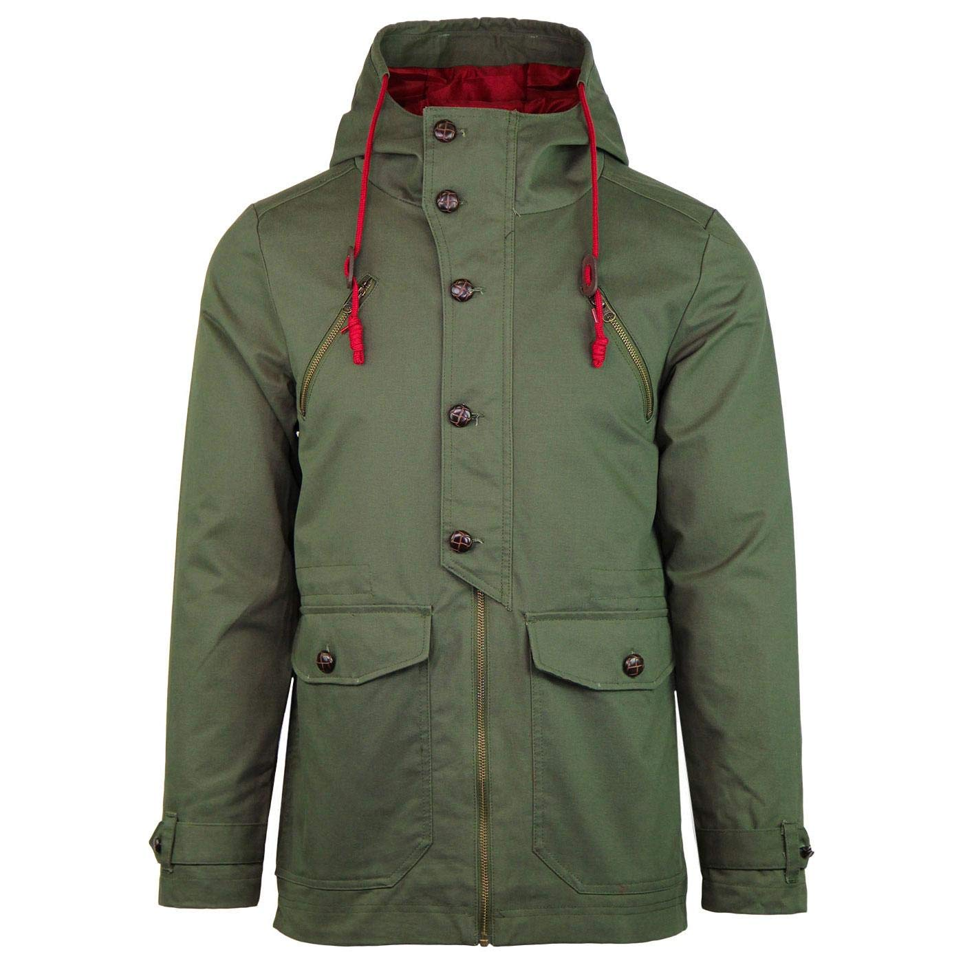Men's Vintage Style Coats and Jackets Madcap England Alfie Mens Mod Hooded Fishtail Parka Jacket in Olive £89.99 AT vintagedancer.com