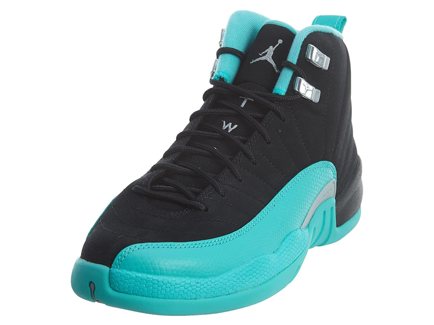 more photos 9399f ac023 Jordan Big Kids Girls Air 12 Retro (GS) (Black/Metallic Silver-Hyper Jade)  Size 6.5 US