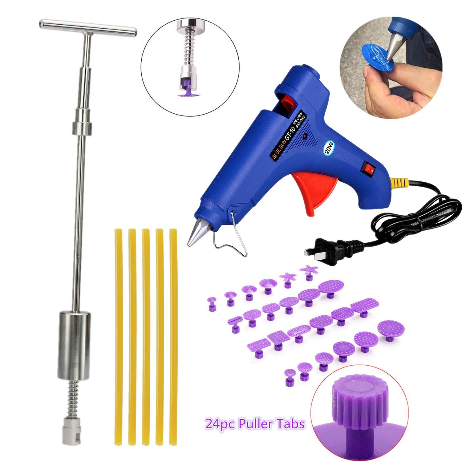 VOLOL SMLIFE DIY Paintless Dent Removal PDR Tools Dent Puller Kit Pops a Slide Hammer with 24pcs Pulling Tabs for Automobile Body Motorcycle Refrigerator Washing Machine