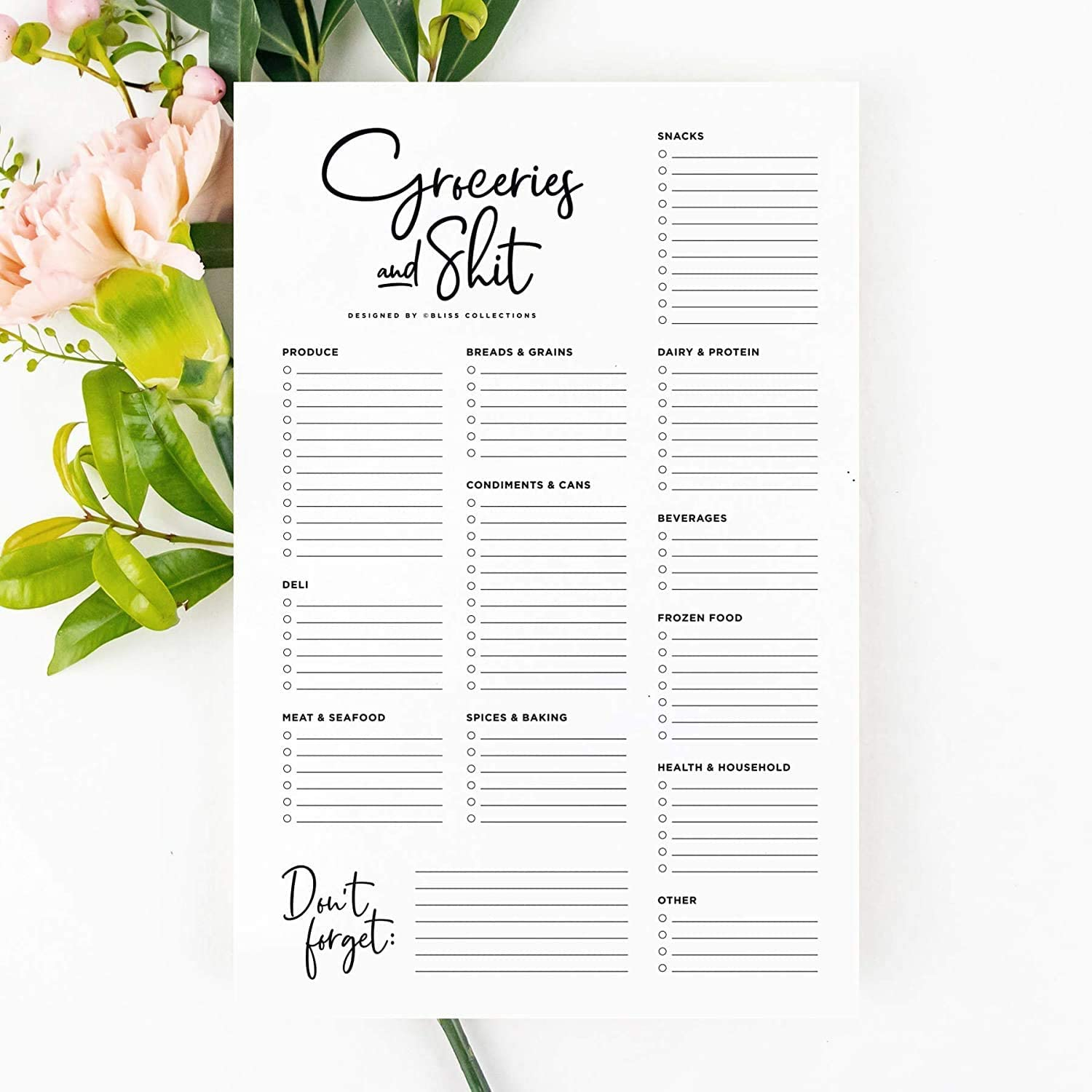 Bliss Collections to Do List Notepad with 50 Tear-Off Sheets - Groceries and Stuff 6 x 9 Organizer and Checklist for Organizing, Tracking Appointments, Reminders, Notes, Shopping, Grocery Lists