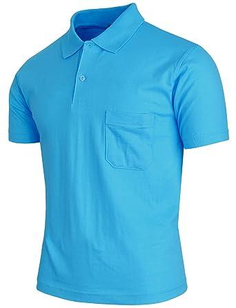 9dccb51d8 BCPOLO Men's Polo Shirt Short Sleeve 1 Chest Pocket Solid Cotton Polo Shirt  Aqua-L